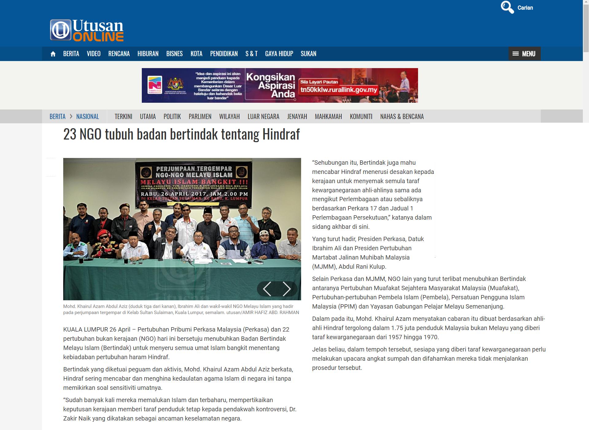 23 NGO tubuh badan bertindak tentang Hindraf