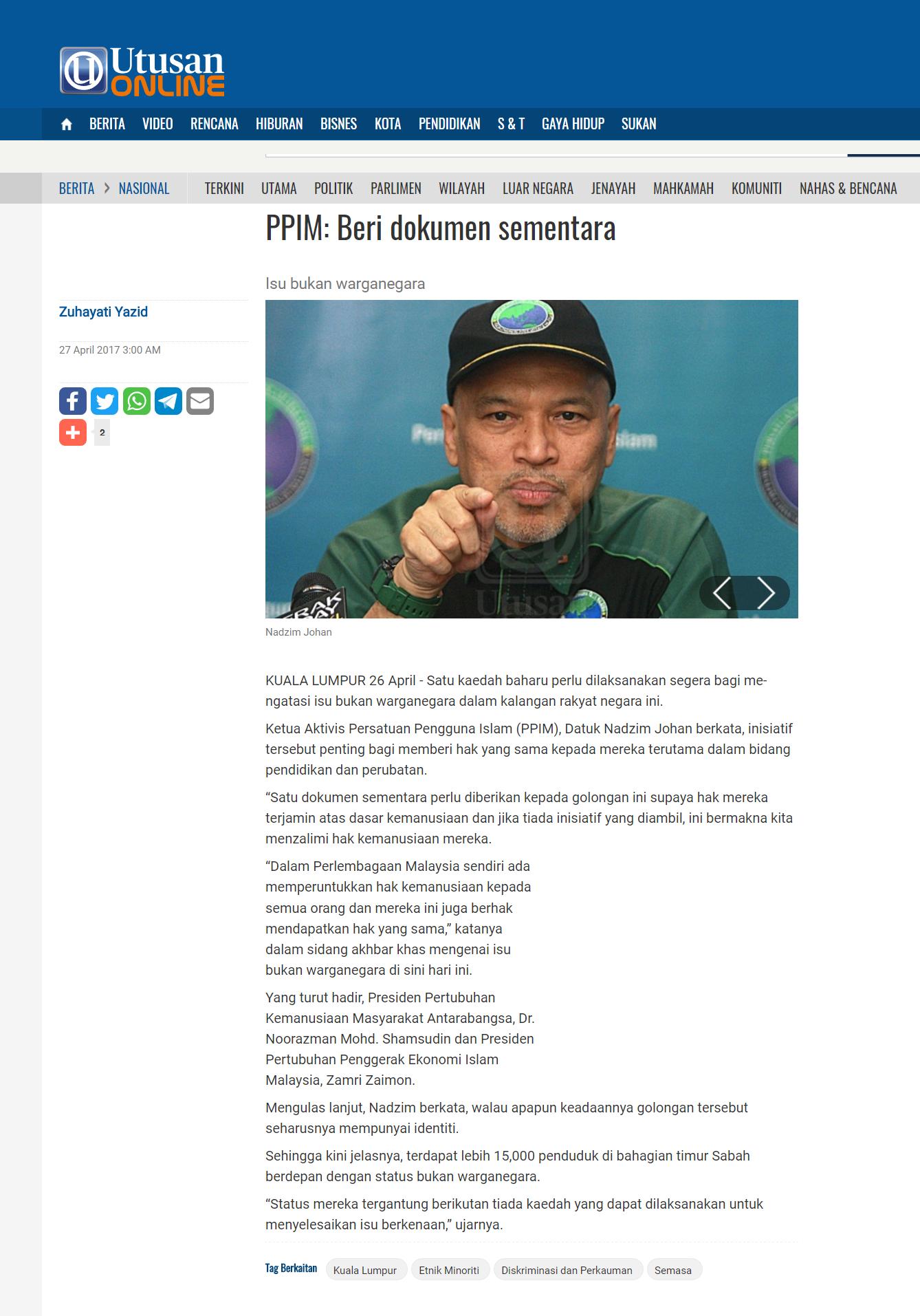 PPIM Beri dokumen sementara