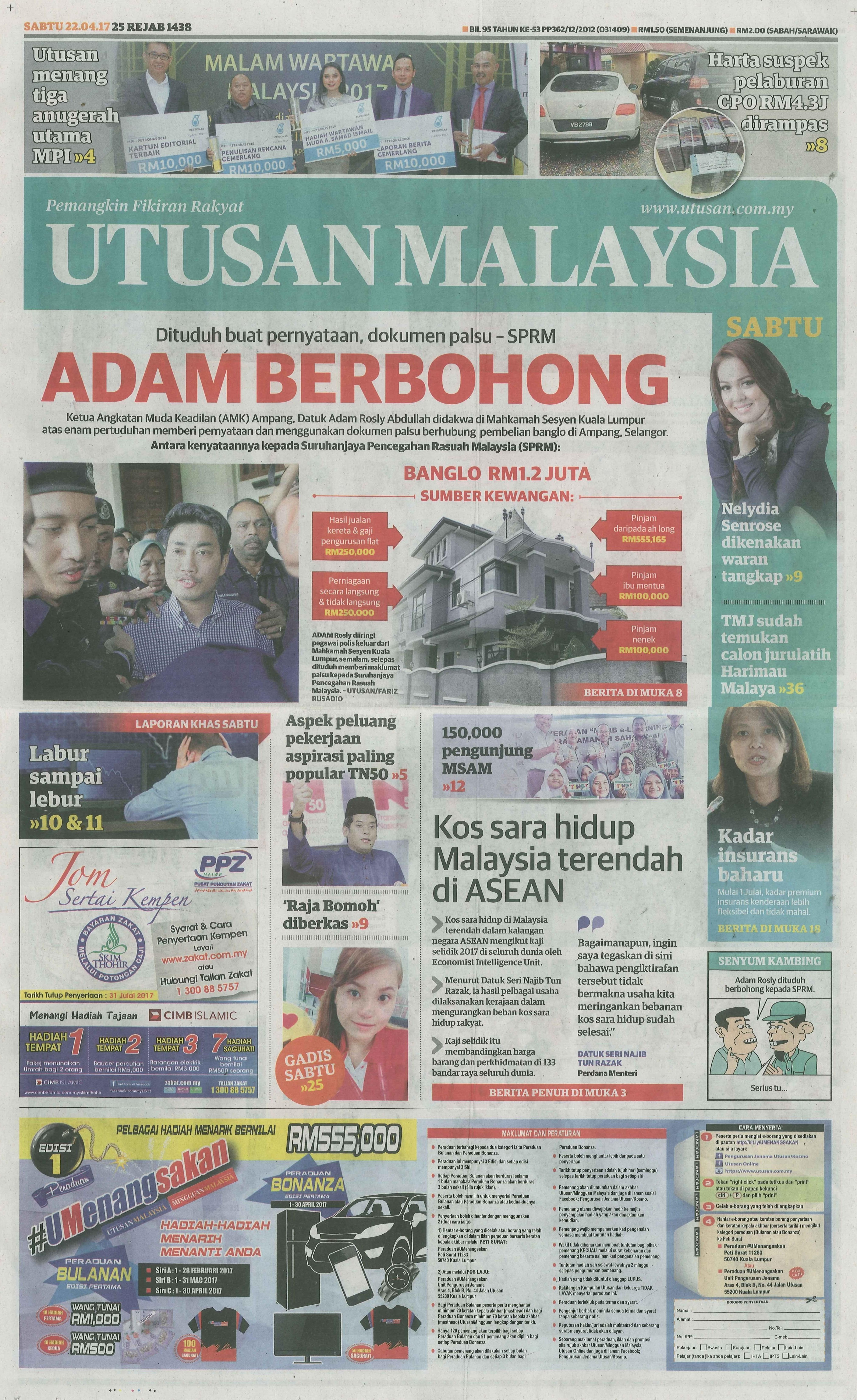 UTUSAN MALAYSIA 22.4.2017 1