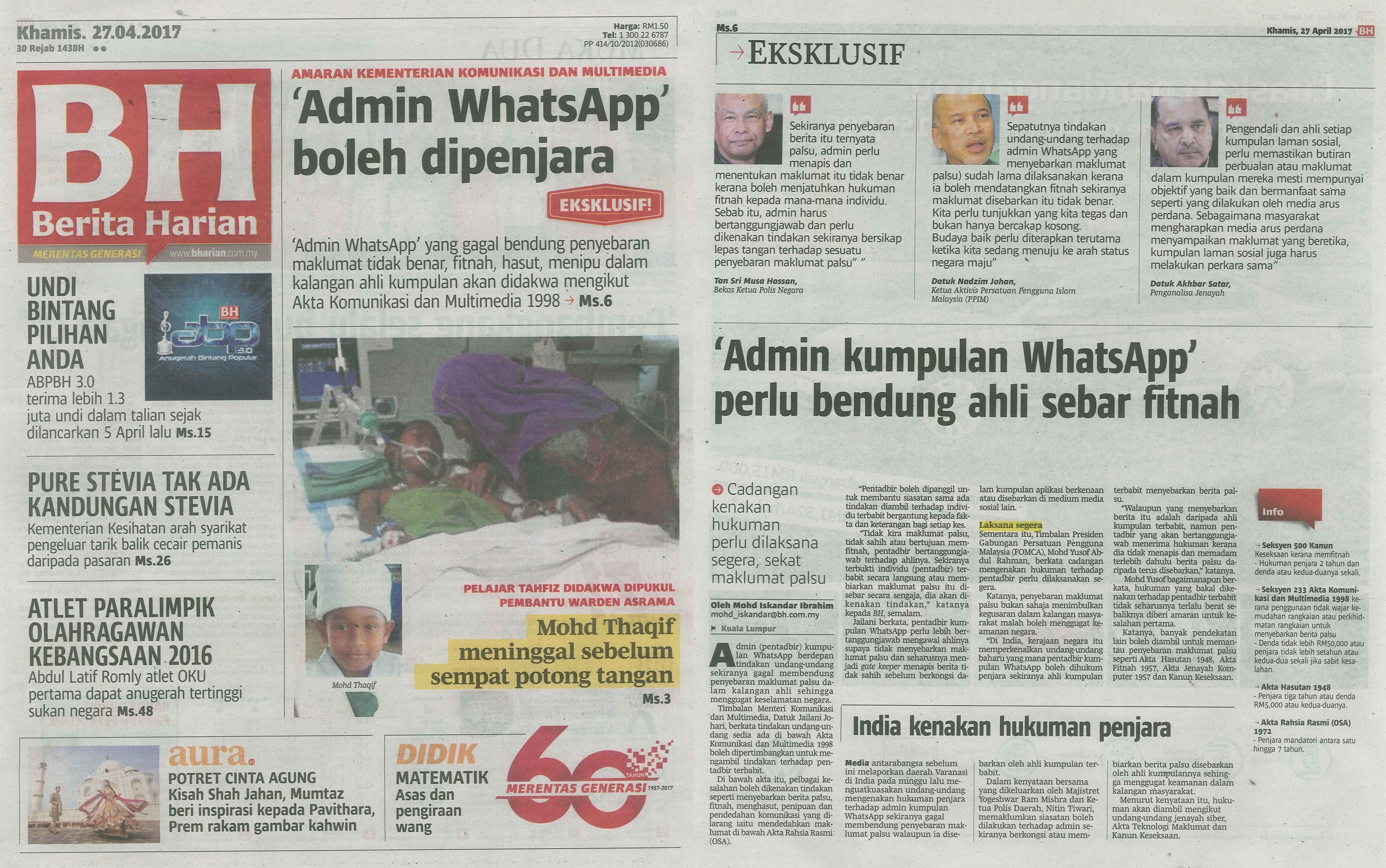 berita harian 27.4.2017 new