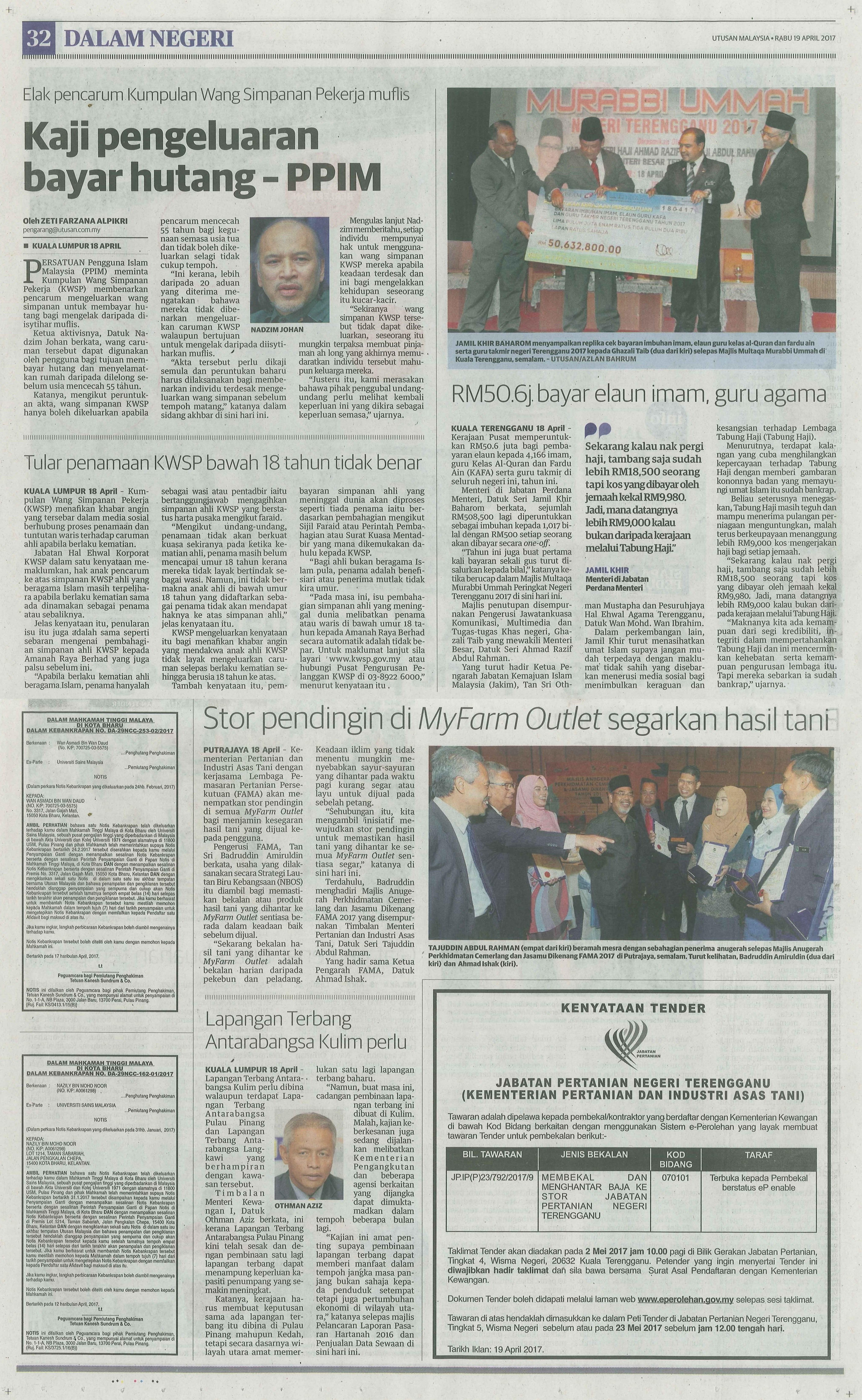 utusan malaysia 19.4.2017