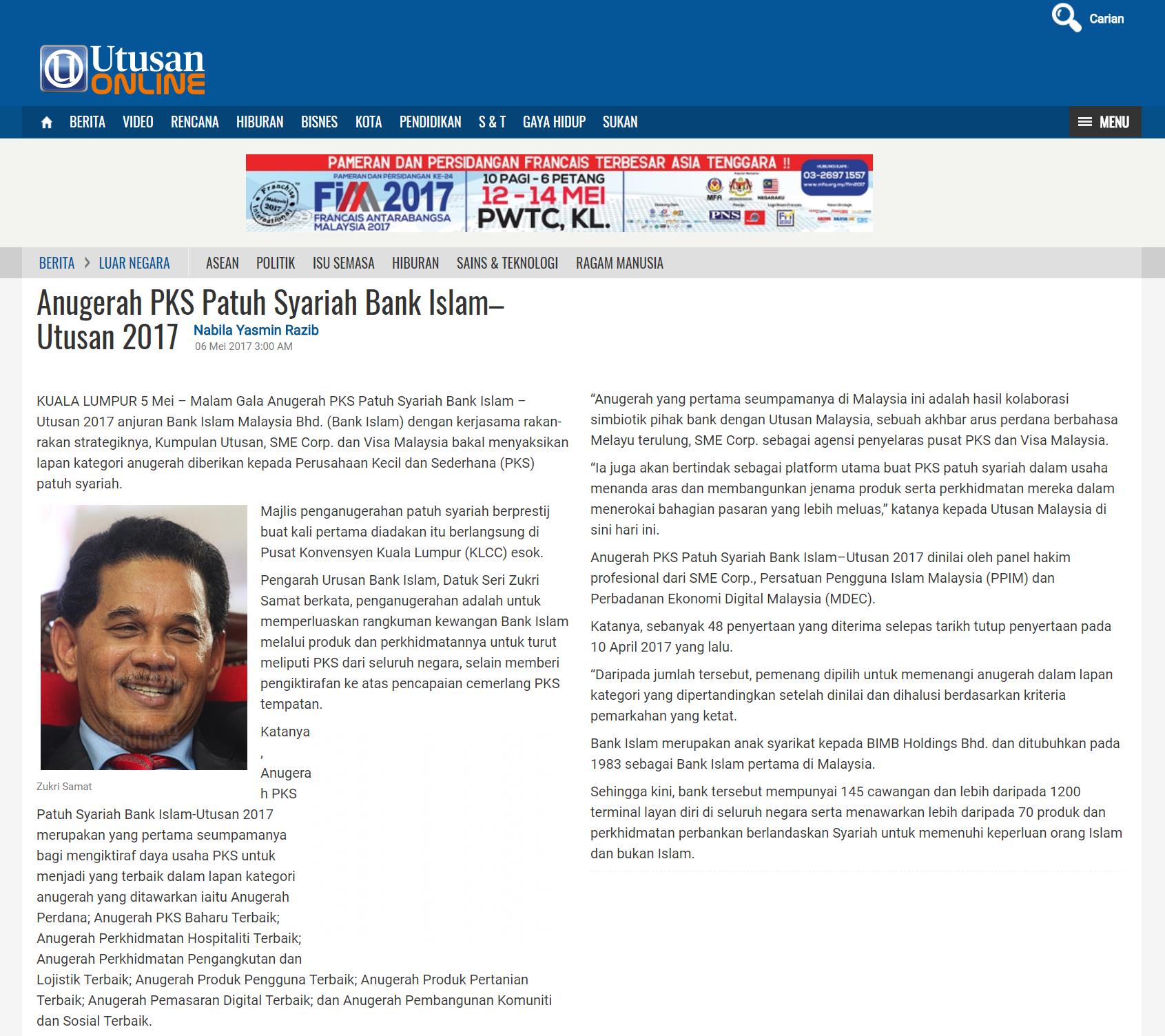 20170505 - Utusan Online - Perbankkan - Anugerah PKS Patuh Syariah Bank Islam