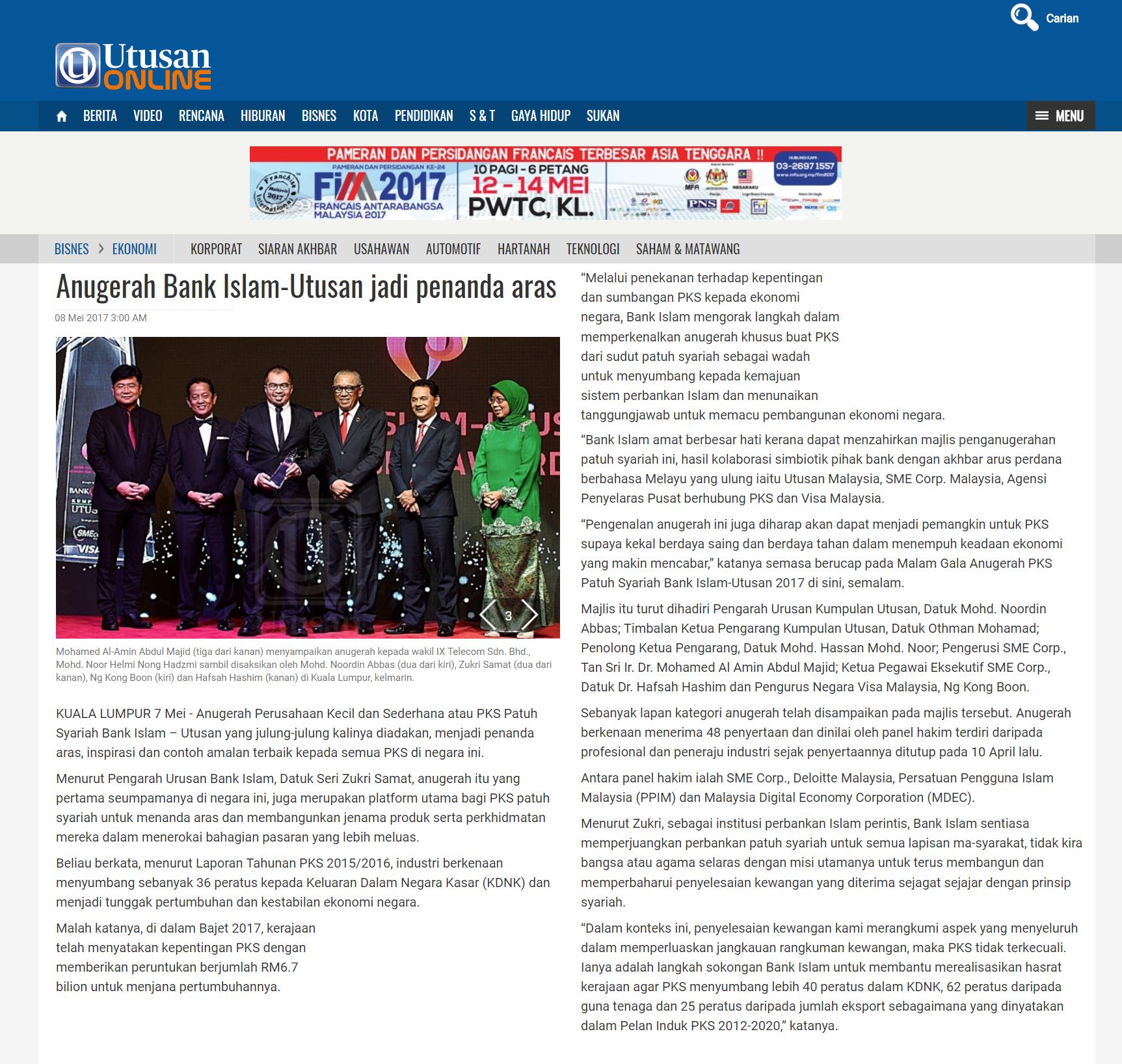 20170507 - Utusan Online - Perbankkan - Anugerah Bank Islam-Utusan jadi penanda aras