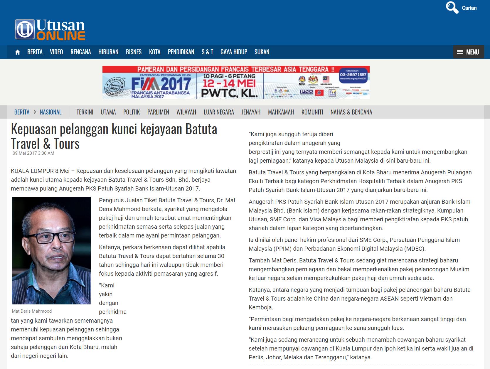 20170508 - Utusan Online - Ekonomi - Kepuasan pelanggan kunci kejayaan Batuta Travel & Tours
