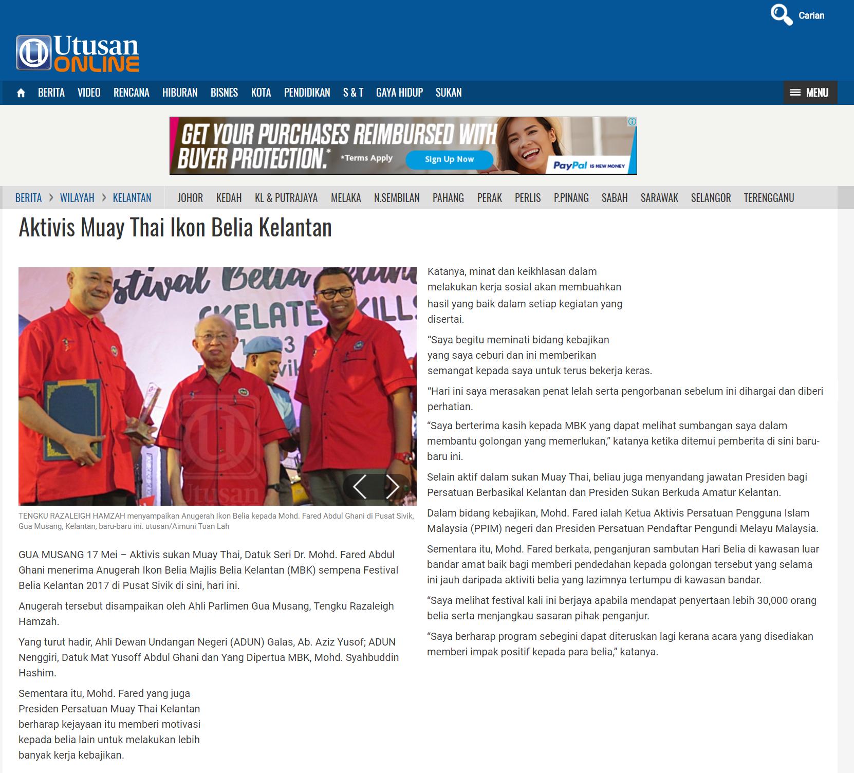 20170518 - Utusan Online - Aktivis Muay Thai Ikon Belia Kelantan