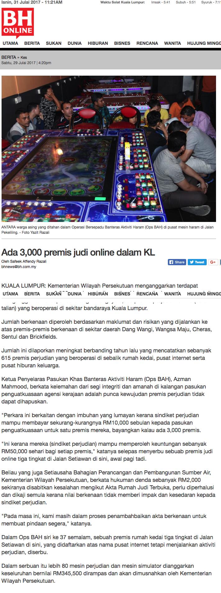 Ada 3 000 premis judi online dalam KL Kes Berita Harian