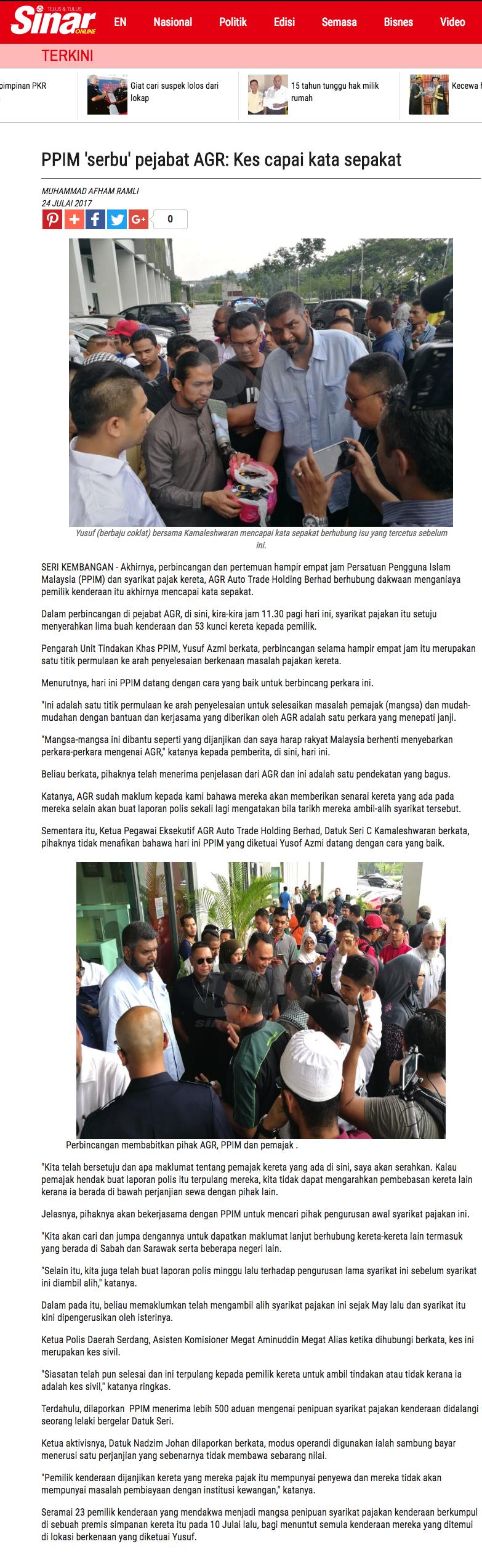 PPIM serbu pejabat AGR Kes capai kata sepakat Semasa Sinar Harian