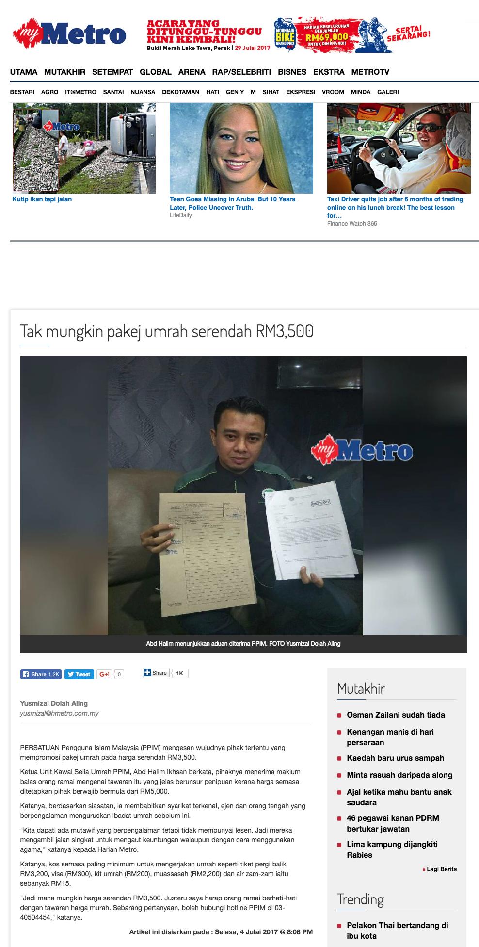Tak mungkin pakej umrah serendah RM3 500 Harian Metro