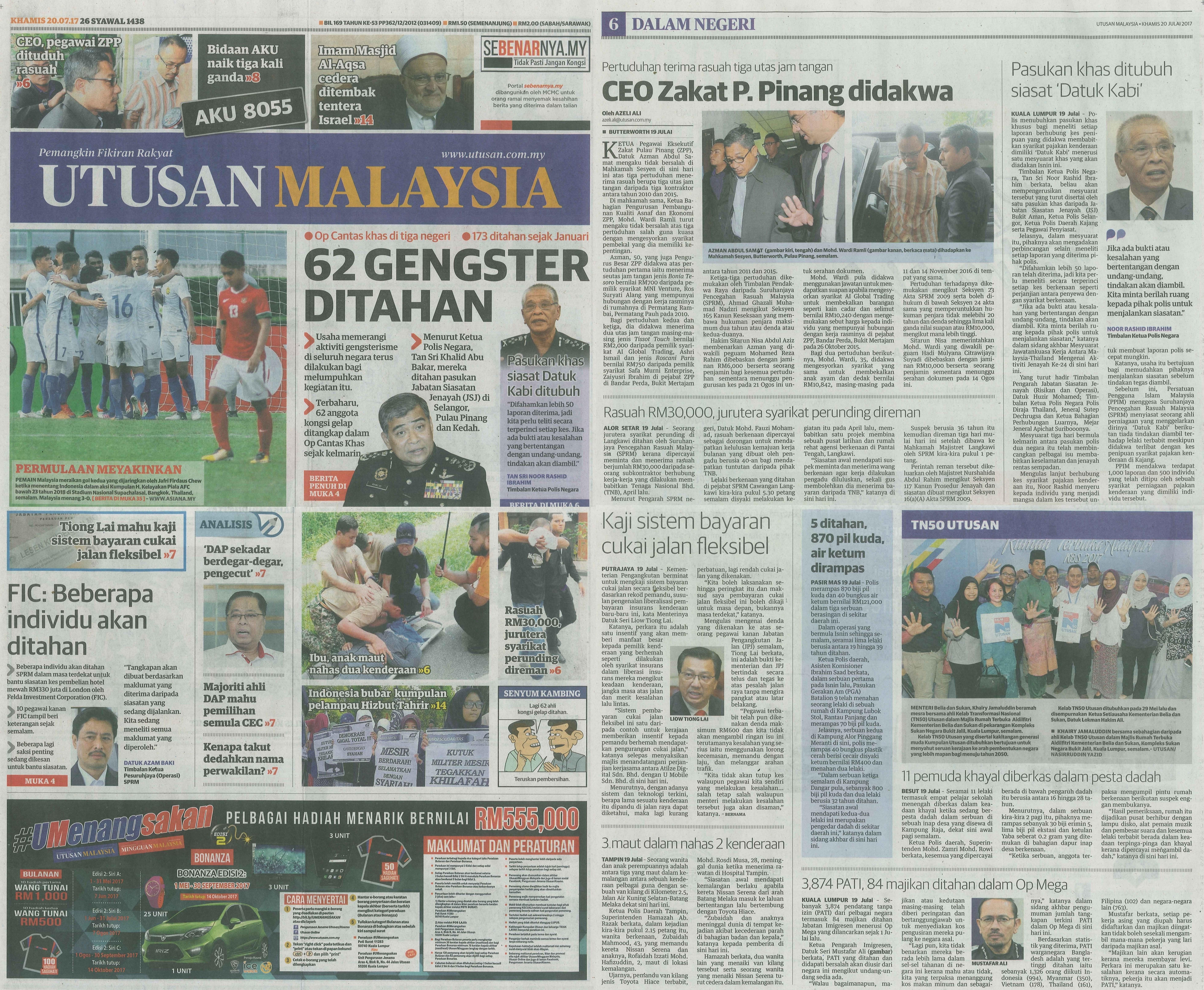 UTUSAN MALAYSIA 20.7.2017