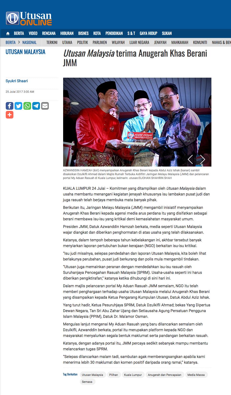 i Utusan Malaysia i terima Anugerah Khas Berani JMM Nasional Utusan Online