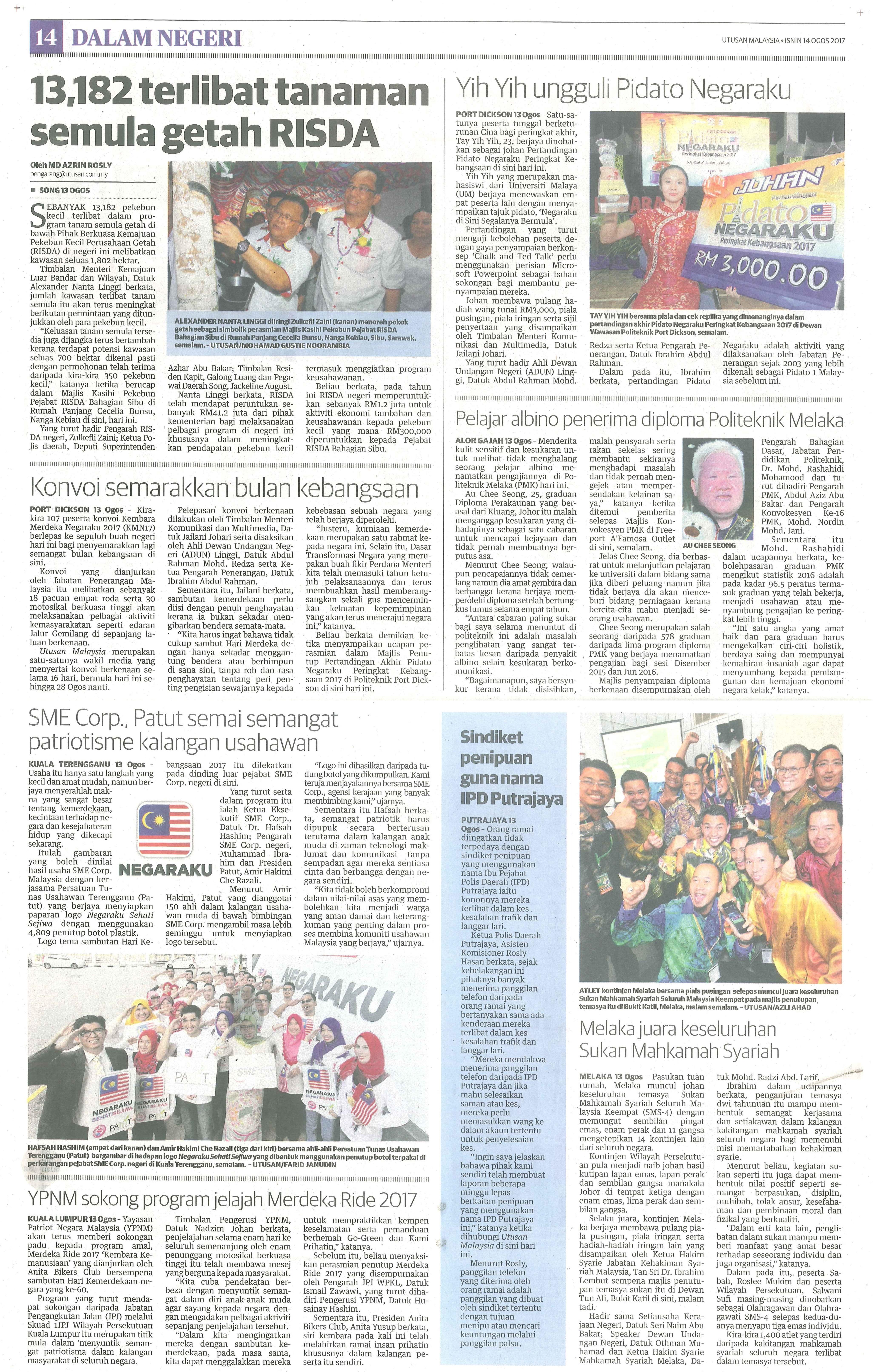 utusan malaysia 14.8.2017